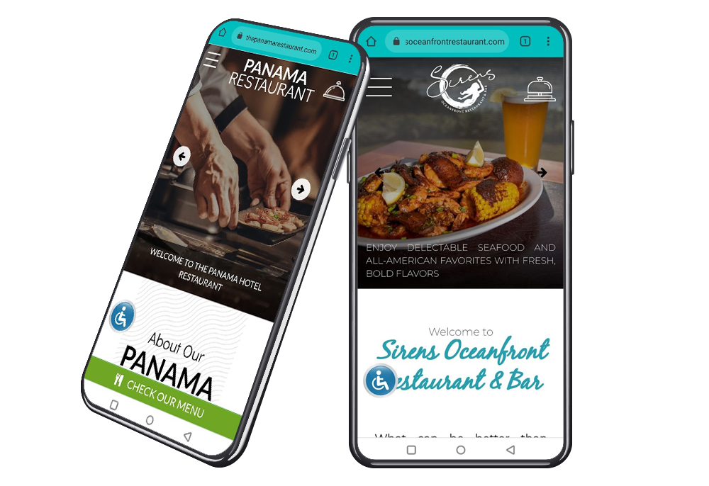 Mockup of the best restaurant websites with mobile responsive design