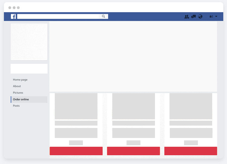 Facebook page of Ninjagrill with online ordering enabled thanks to UpMenu software